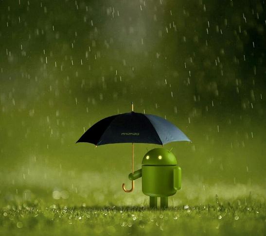 android_under_rain