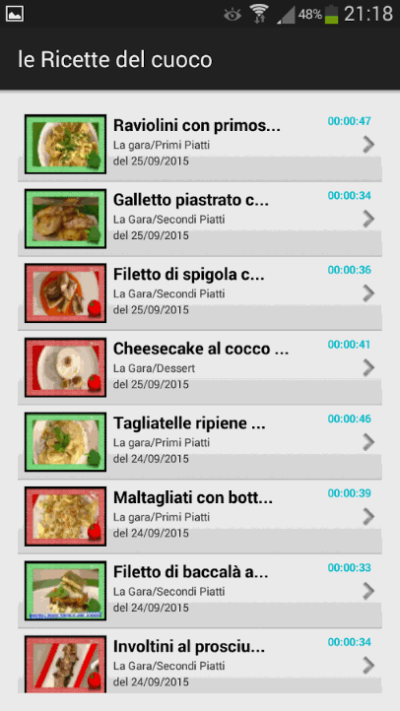 applicazione ricette