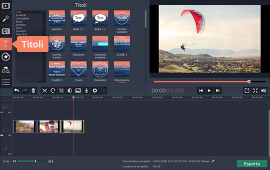 interfaccia video editor