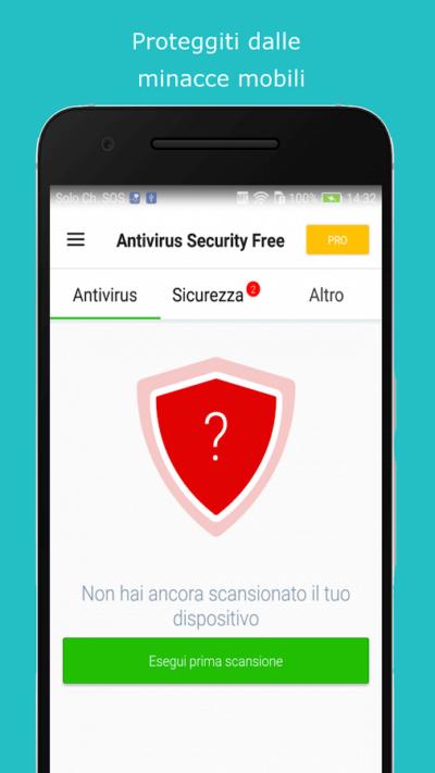 Una schermata di Avira Antivirus per android