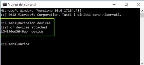 adb devices comando
