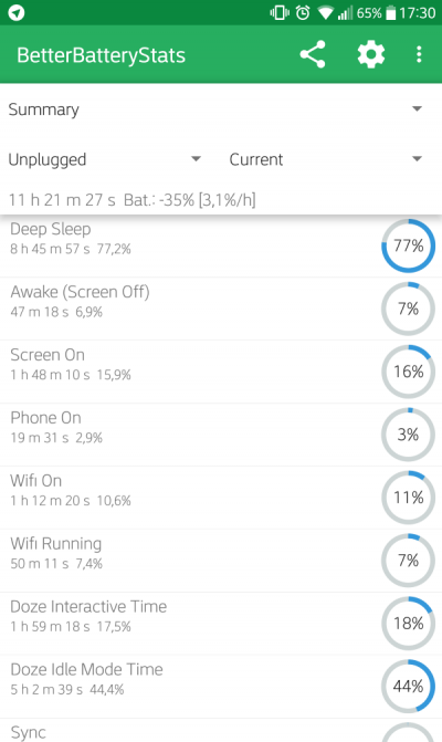 schermata better battery stats