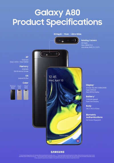 Samsung Galaxy A80 specifiche