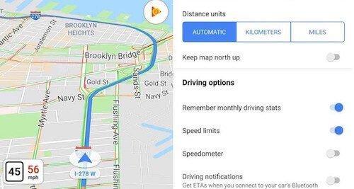 Google Maps tachimetro