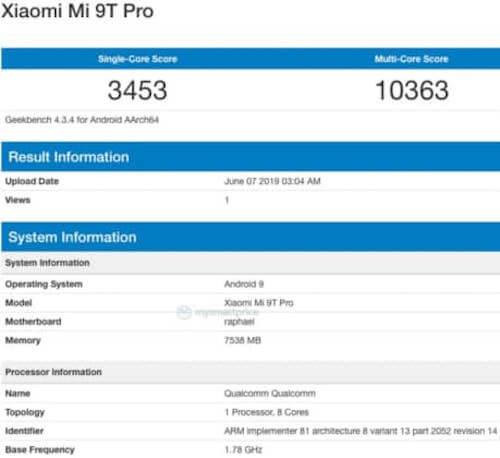 Xiaomi Mi9T Pro Geekbench